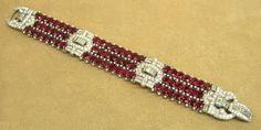 French Art Deco 39.16ct Burma Ruby & 9.18ct Diamond Platinum Bracelet