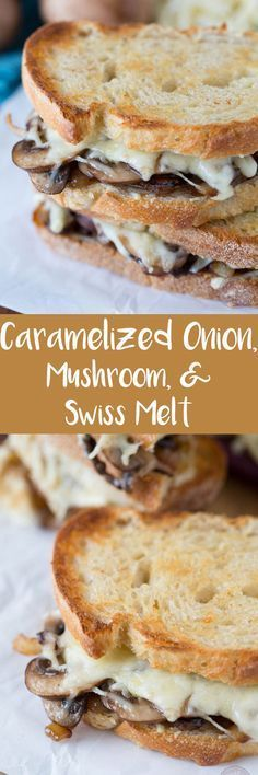 An easy sandwich to put together but the flavors will make it seem as if you spent all day making it! The caramelized onions bring a sweet and unique flavor that helps make this sandwich irresistible! Get this caramelized onion, mushroom, and swiss cheese Soup And Sandwich, Sandwich Recipes, Grilled Sandwich, Panini Sandwiches, Veggie Sandwich, Vegetarian Recipes, Cooking Recipes, Cooking Food, Vegetarian Sandwiches