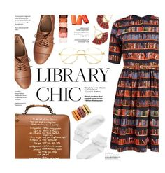 """""""Library Chic"""" by federica-m ❤ liked on Polyvore featuring Gap, Tory Burch, NYX, Monki, brogues, ruffled, tassel, librarychic and falldresses"""