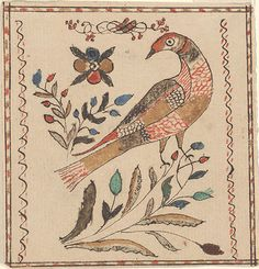 Drawing (Bird and Flowers)  Pennsylvania, 1816