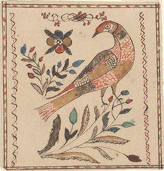 Drawing (Bird and Flowers) - Fraktur