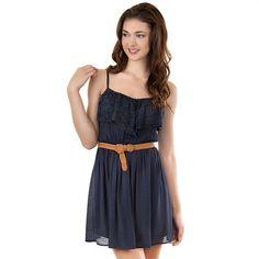 eb43e519d IZ Byer California Lace Flounce Dress - Juniors | Midnight Blue Junior  Dresses, Women's Fashion