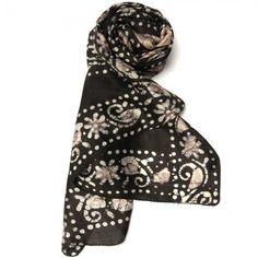 Stole with Batik Print - Brown, $25