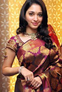 south indian celebrity actress tamanna in beautiful designer silk saree #DesignerSilk #Sarees #IndianShopping
