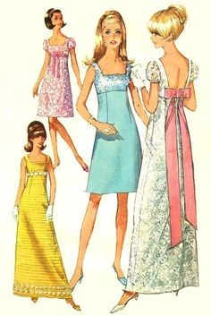 CHARMING Empire Waist Puff Sleeve Bridesmaids, Evening or Prom Dress Pattern SIMPLICITY 7117 Bust 34 Vintage Sewing Pattern-Authentic vintage sewing patterns: This is a fabulous original dress making pattern, not a copy. Wedding Dress Sewing Patterns, Vintage Dress Patterns, Clothing Patterns, Evening Dress Patterns, Motif Vintage, Vintage Mode, Vintage Outfits, Vintage Dresses, 1960s Dresses