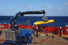 INDIAN OCEAN (April 1, 2014) The Bluefin 21 Artemis autonomous underwater vehicle (AUV) is hoisted back on board the Australian navy vessel Ocean Shield after successful buoyancy testing. Joint Task Force 658 is supporting Operation Southern Indian Ocean, searching for the missing Malaysia Airlines Boeing 777. (U.S. Navy photo by Mass Communication Specialist 1st Class Peter D. Blair/Released)