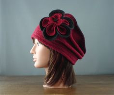 One of a kind recycled redburgundy and grey 100 by knitvalley, $35.00