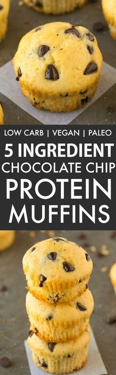 5 Ingredient Chocolate Chip Protein Muffins (GF, V, Paleo)- Healthy, 5-ingredient fluffy muffins loaded with chocolate chips and 100% guilt-free and low carb! {sugar-free, vegan, gluten free recipe}- http://thebigmansworld.com