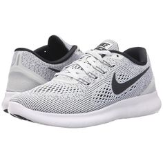 Nike Free RN (White/Pure Platinum/Black) Women's Running Shoes ($100) ❤ liked on Polyvore featuring shoes, athletic shoes, black lace up shoes, white athletic shoes, nike, white shoes and lace up shoes