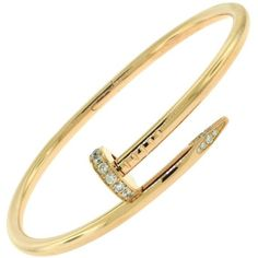 Preowned Cartier Juste Un Clou 18 Karat Rose Gold Bracelet With... ($9,800) ❤ liked on Polyvore featuring jewelry, bracelets, bangles, red, red jewellery, bangle bracelet, 18k bangle bracelet, red gold jewelry and rose gold diamond bangle