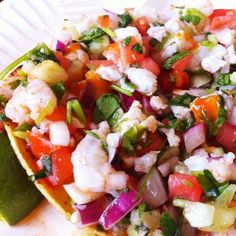 Shrimp Ceviche Tostada....a Hancock family favorite, we add some Clamato to the ceviche and just eat it with a spoon. :) #mexicanfoodrecipes