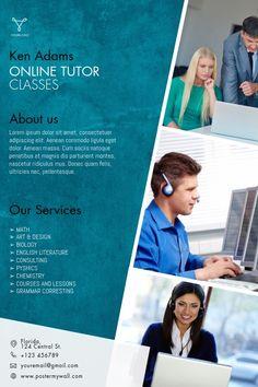 Business Flyers, Business Flyer Templates, Small Business Marketing, Tutoring Flyer, Online Tutoring, Self Thought, Math Tutor, Math Art, Class Projects