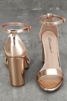 f8eeb8cc53d68 Pretty Rose Gold Heels - Ankle Strap Heels - Vegan Leather Heels -  29.00  Lulus