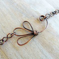 Copper Flower Handmade Chain Necklace by sparkflight on Etsy