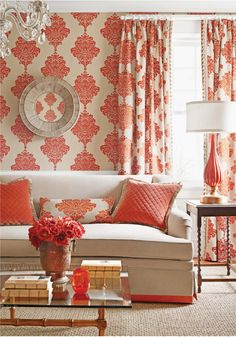 Arturo Damask wallpaper from Monterey Collection. Fairhaven Sofa from Thibaut in Essex Velvet. Detailing in Zig Zag from Cypress Collection. Draperies and pillow in Arturo Damask Embroidery from Monterey Collection. Pillows in Essex Velvet Diamond Quilted Wallpaper Stores, Damask Wallpaper, Wall Wallpaper, Orange Wallpaper, Orange Home Decor, Red Rooms, Coordinating Fabrics, Upholstered Furniture, Coral Furniture