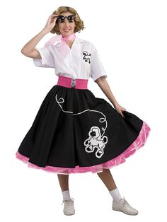 Black 50s Poodle Adult Costume For Women