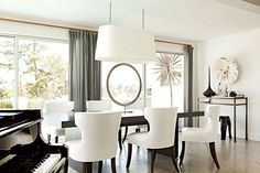 sophisticated white dining room with contemporary furniture