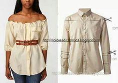 Como hacer de una camisa una blusa...                                                                                                                                                                                 Más