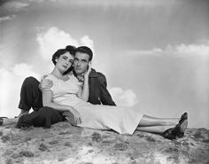 """Elizabeth Taylor and Montgomery Clift in """"A Place in the Sun"""", 1951 #actor #still"""