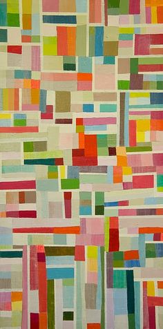 This is actually a scrap quilt pattern but it would be cool to do this with tissue paper on a white canvas....Very Eric Carle
