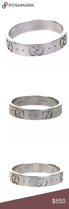 2808f195b Gucci GG ICONIC 750 100% Auth 100% Authentic GUCCI Logo Ring iconic white  Gold