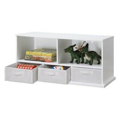 Badger Basket Shelf Storage Cubby with Three Baskets - White
