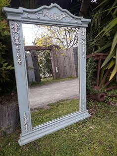 Stunning Ornate mirror painted with Annie Sloan Chalk paint. Duck Egg blue and Old white, finished with dark wax