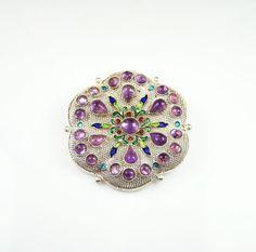 Vintage Brooch Amethyst Glass Enamel Silver Metal Filigree Jewelry