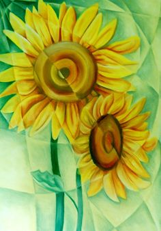 Fractured Sunflowers by Tiffany Budd | Artfinder #SunFlowers #Cubist