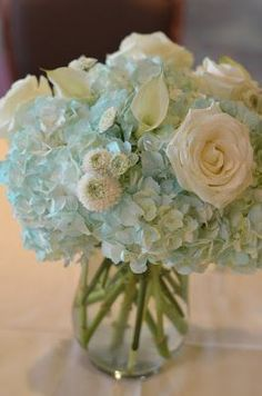 Tiffany blue centerpieces, ice blue flowers, light blue flowers for wedding by Flour and Flower Designs #flowersforweddings