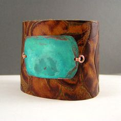 Leather Cuff Bracelet, Painted Metal / Rivet a stone bezel setting to a leather cuff.  ;)