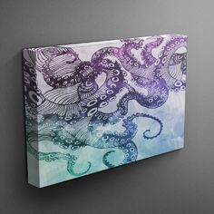 Watercolor Skull Wall Art, now in 3 Sizes, perfect addition to your Nautical or Octopus Decor! I print my graphics on canvas and then wrap the canvas onto wood frames for a beautiful gallery feel. The