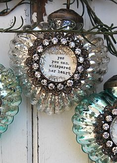Our gorgeous Vintage style Silver Mercury Glass Christmas Ornament has a hand glittered rhinestone centerpiece.