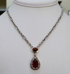 DESIGNER SIGNED LORI BONN STERLING SILVER GARNET ORNATE LINK NECKLACE