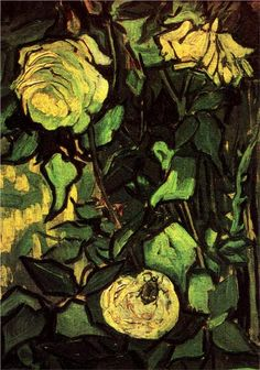 Roses and Beetle - Vincent van Gogh - WikiPaintings.org