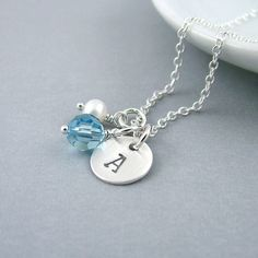 Silver+Initial+Necklace+Sterling+Silver+Aquamarine+by+RoseAndRaven,+$30.00