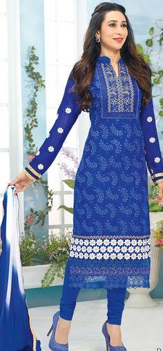 Karishma Kapoor in blue cotton churidar