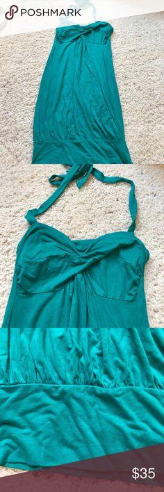 Victoria's Secret dress✨ Teal halter dress• tight bottom• tight built in bralette• tie adjustable neck•93% modal- 7% spandex• Victoria's Secret Dresses Mini