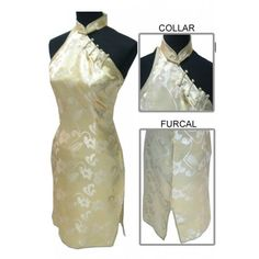 Periwing Light Yellow Satin One Side Shoulder Strap Button Knee Length Flower Chinese Dress Qipao