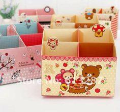 Free Shipping Kawaii Rilakkuma DIY Paper Manual Four Lattice Desktop Folding Storage Box Pen Holder Retail $3.99