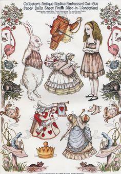 Alice in Wonderland Paper Dolls Alice In Wonderland Vintage, Alice In Wonderland Printables, Paper People, Marionette, Vintage Paper Dolls, Alice White, Disney Paper Dolls, Paper Art, Paper Crafts