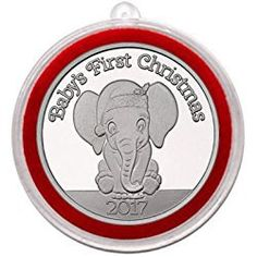 Elephant Christmas Ornament 2017 - Baby's First Christmas Baby Elephant Silver Medallion in Ornament Holder - Uncirculated