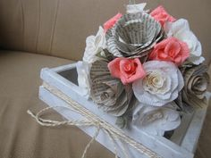 VINTAGE FLOWERS paper roses bride BOUQUET by moniaflowers on Etsy