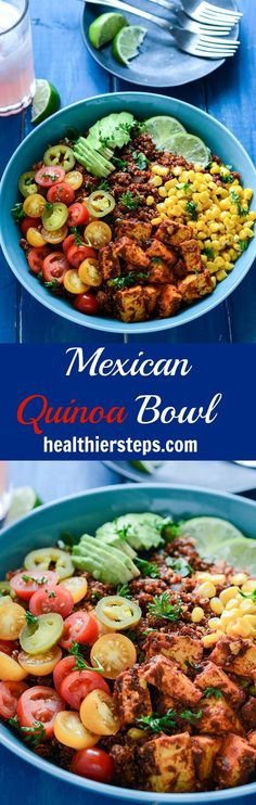 This delicious Mexican Breakfast Quinoa Bowl is full of flavor and very nourishing. Quinoa and tofu cooked with Mexican flavors, topped with creamy avocado, corn, and tomatoes.