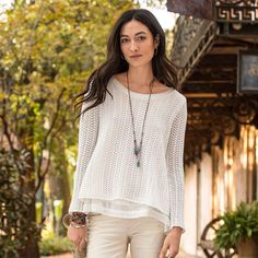 "VESPER SPARROW SWEATER -- A delicate, chevron crochet top that whispers of secret hopes and dreams, with tulip back and lace-trimmed, silk lining. Cotton/nylon/silk. Hand wash. Imported. Sizes XS (2), S (4 to 6), M (8 to 10), L (12 to 14), XL (16). Approx. 25-1/2""L."