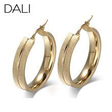 Dali New venez glaçage Surface acier de titane grande boucles d'oreilles 18 K or…