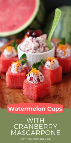 How to Make Mini Watermelon Cups with Cranberry Mascarpone for the holiday season. This healthy fruit recipe can be served as an appetizer or snack. #appetizer #snack #holidays #fruit #christmas #thanksgiving Bacon Appetizers, Great Appetizers, Easy Appetizer Recipes, Christmas Recipes, Thanksgiving Recipes, Fruit Recipes, Sweet Recipes, Healthy Fruits, Healthy Eating