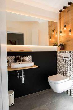 Gäste-WC mit Stil New Ideas Gäste-WC mit Stil Guest toilet with New Ideas style # Guest toilet Guest toilet with style Small Toilet Room, Guest Toilet, Downstairs Toilet, Toilet Wall, Wc Design, House Design, Bathroom Interior, Modern Bathroom, Design Bathroom