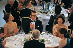 Princess Victoria Photos - Princess Victoria of Sweden, fiance Daniel Westling and Queen Silvia of Sweden applaude during the Government Pre-Wedding Dinner for Crown Princess Victoria of Sweden and Daniel Westling at The Eric Ericson Hall on June 18, 2010 in Stockholm, Sweden. - Crown Princess Victoria & Daniel Westling: Pre Wedding Dinner - Inside