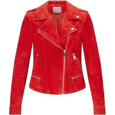 Vero Moda Suede Biker Jacket ❤ liked on Polyvore featuring outerwear, jackets, motorcycle jacket, suede jacket, red motorcycle jacket, suede leather jacket and suede biker jacket